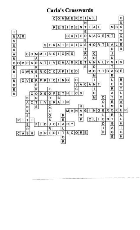 real estate crossword puzzle  key