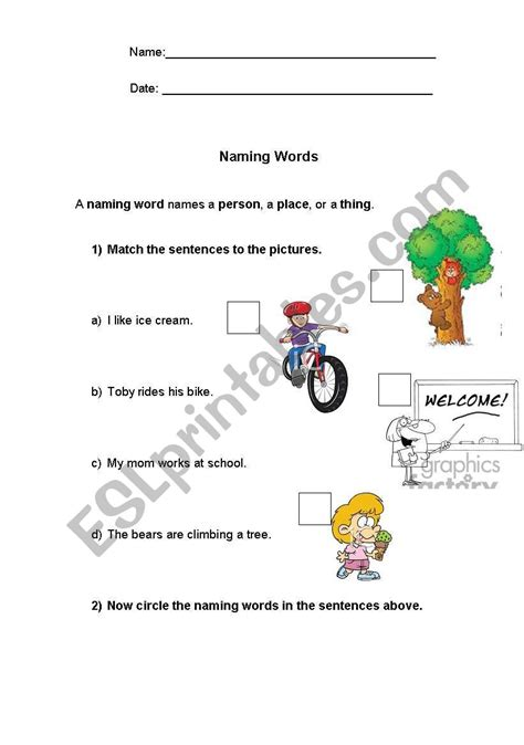 worksheet on naming words for grade 2 kidz activities