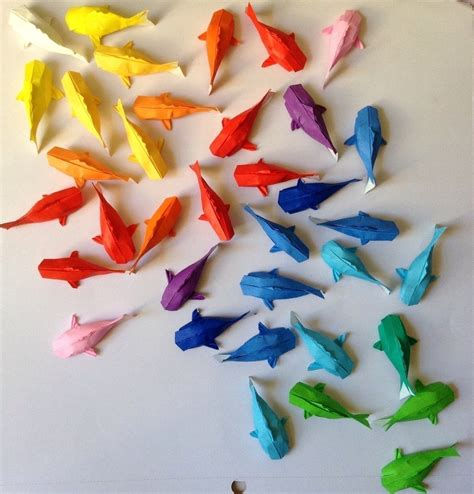 Rainbow Koi Origami Fish Papercraft Cut Out