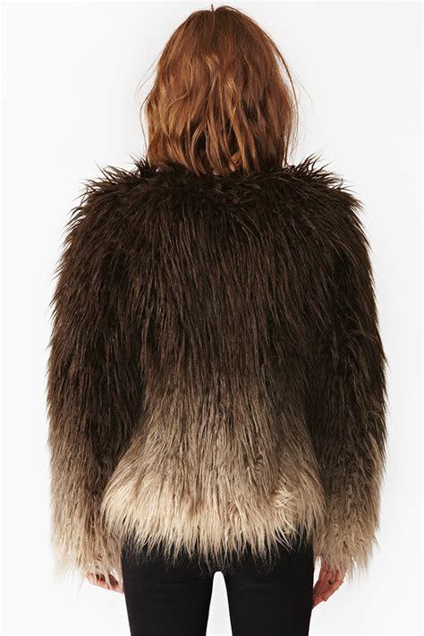lyst nasty gal dip dye faux fur jacket  black