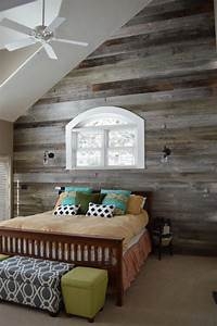 shiplap poplar accent wall bedroom farmhouse with drawer
