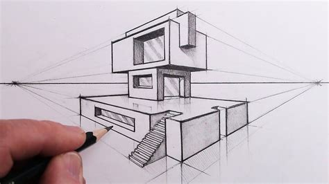 draw  building   point perspective step