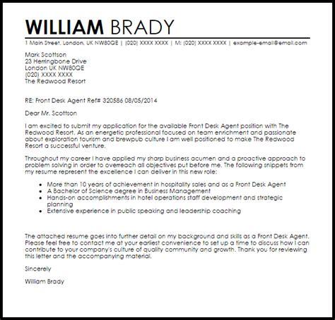 front desk agent cover letter sample cover letter