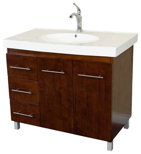 left side sink vanity 39 inch single sink vanity wood walnut left side drawers