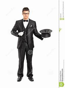 Magician Holding A Magic Wand And Top Hat Stock ...