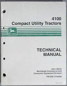 John Deere 4100 Compact Tractor Technical Manual Tm1630
