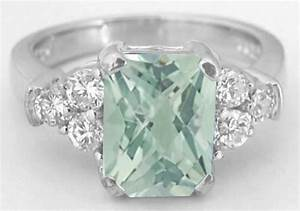 radiant green amethyst and diamond engagement ring in 14k With green amethyst wedding ring