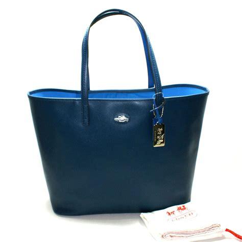 coach brilliant blue leather large tote bag  coach