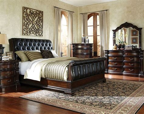 black sleigh bed suite leather  fabric churchill