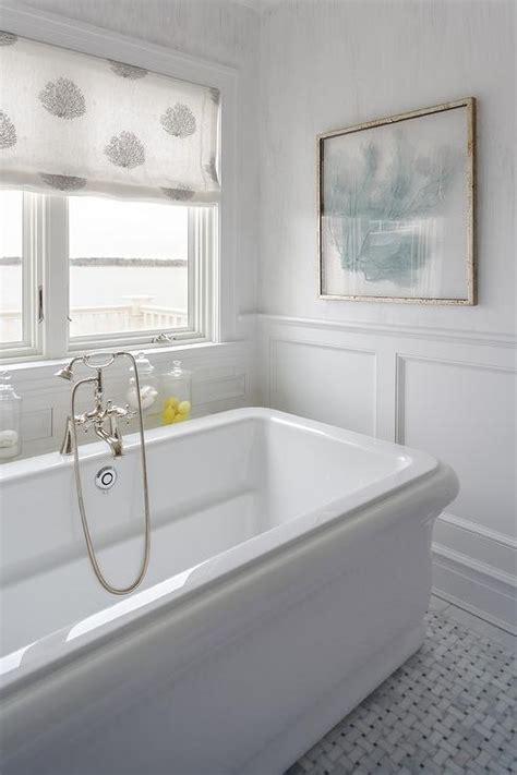 beach style bathroom  blue sea fan art cottage