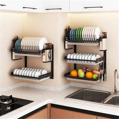 stainless steel kitchen dish rack plate cutlery cup dish drainer drying rack wall mount