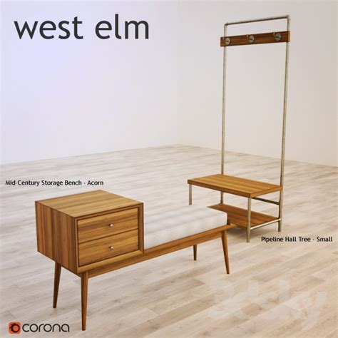 west elm storage bench 3d models other west elm mid century storage bench