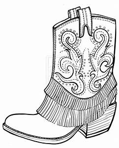 free picture of cowboy boots | Cowboy boots coloring page ...