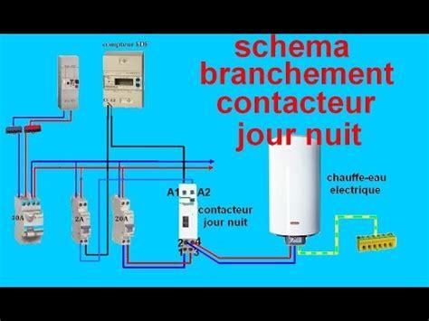 schema electrique branchemant cablage contacteur jour nuit