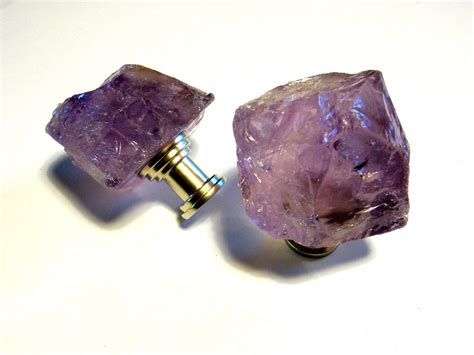 Amethyst Crystal Cabinet Knob Drawer Pull February Birthday