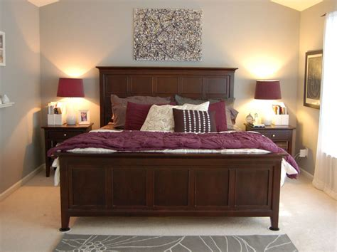 Bedroom Decor Ideas With Brown Furniture by Purple Gray Room With Wood Furniture Bedroom