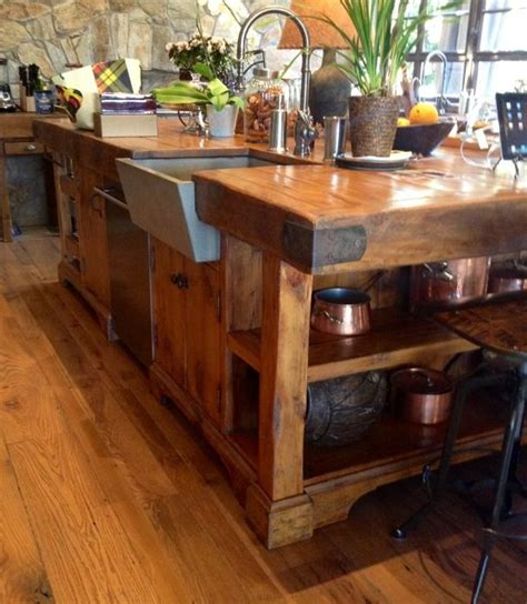 Reclaimed Granary Board Center Island  Projects To Try