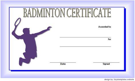 badminton certificate templates  spectacular designs