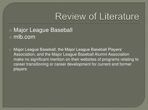 major league baseball a study of continuing education and