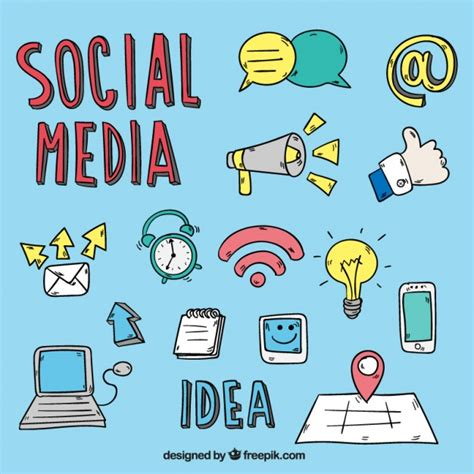 collection  social media drawings vector