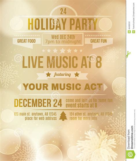 soft gold holiday party invitation flyer stock vector