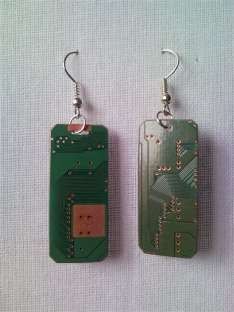 Recycled Circuit Microchip Pcb Geek Earrings With Strass