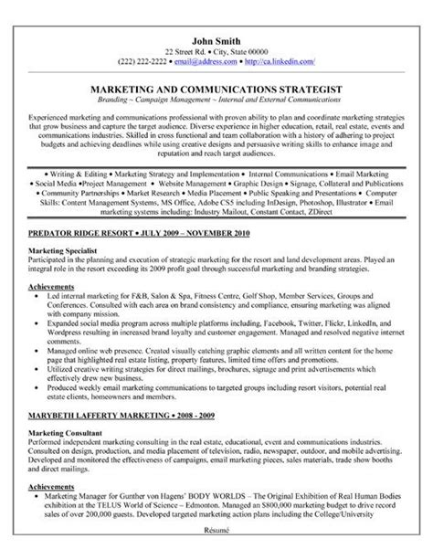 A professional resume template for a Marketing Specialist
