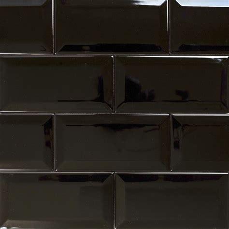 Subway  Bevelled Gloss Black Tile 150×75  Eco Tile Factory