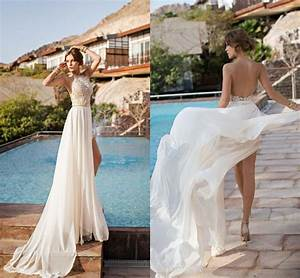 2016 sexy fashion julie vino high low backless lace for High low halter wedding dress