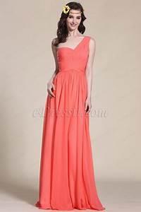 robe demoiselle d39honneur corail longue col asymetrique With robe corail demoiselle d honneur