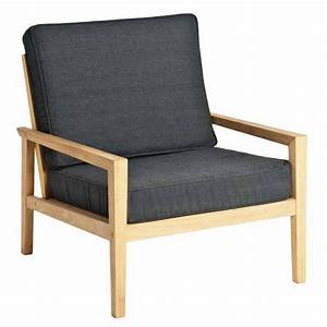 Fauteuil Jardin Bois : fauteuil de salon de jardin en bois avec coussin gris fonc haut de gamme la galerie du teck ~ Teatrodelosmanantiales.com Idées de Décoration