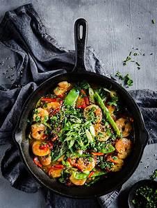 keto shrimp stir fry low carb seafood dinner recipe with