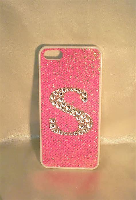 bling custom light pink glitter white iphone   case clear monogram initial letter