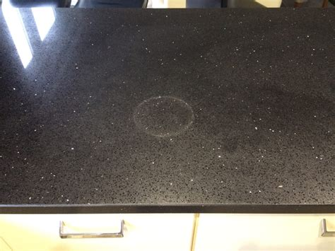 heat stain repair  engineered quartz kitchen worktop