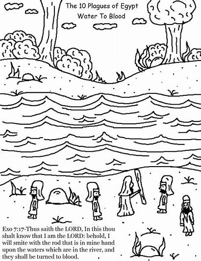 Plagues Egypt Blood Water Coloring Pages Plague