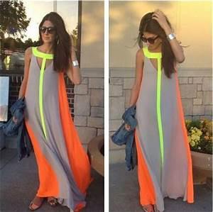 Beautiful chiffon maxi dress neon print beachwear summer