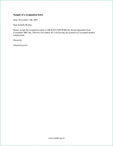 simple resignation letter template simple resignation letter template business