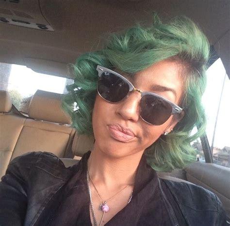Green Hair Cute Short Hair Black Girl Colored Women