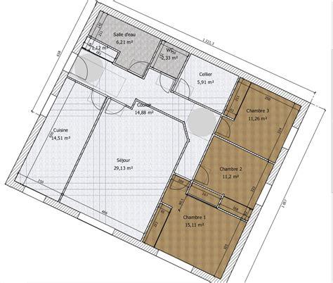 plan maison 3 chambre plain pied plan pour maison plain pied entre 100 et 110m2 370