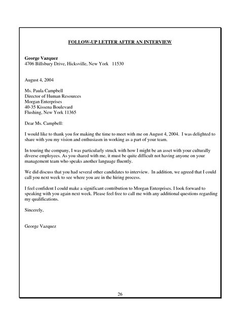 Follow Up Letter After by Best Photos Of Follow Up Letter Follow Up Letter Exles Follow Up