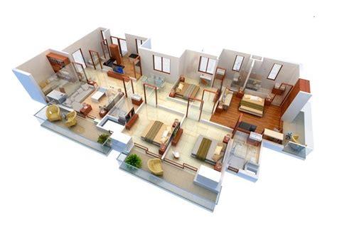 apartment 3d floor plans 4 bedroom apartment house plans
