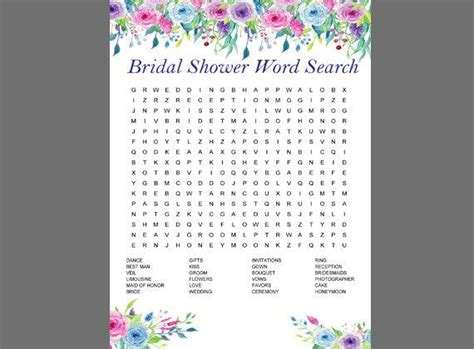 Floral Bridal Shower Word Search Game Printable Colorful