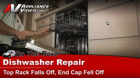kitchenaid kudcfxss dishwasher repair top rack falls  rack stop appliance video