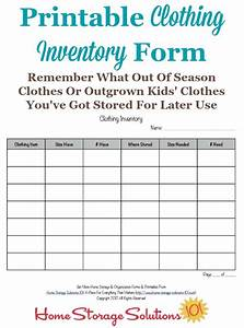 Clothing Inventory List Template Printable Clothing Inventory Form