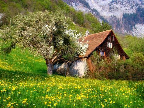 rustic farm fondos de pantalla árboles paisaje montañas flores