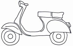 Scooter clipart coloring - Pencil and in color scooter ...