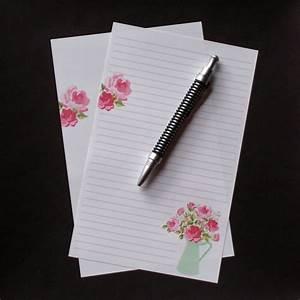 pitcher of pink roses fine stationery set letter writing With letter writing stationery sets