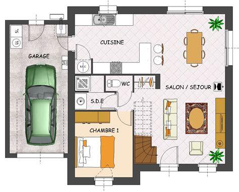 plan de maison 1 chambre cuisine naturelle