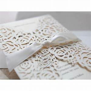 floral laser cut with customised colour insert satin bow With laser cut floral wrap wedding invitations