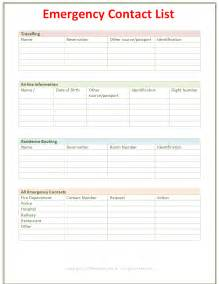 Free Emergency Contact List Template
